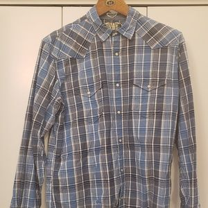 Blue plaid Western style button front shirt